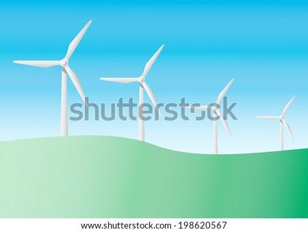 Group of  wind turbine vector illustration   - stock vector