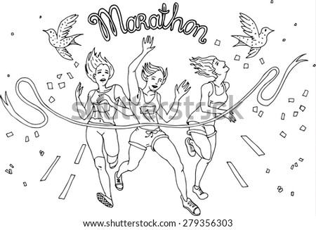 Group of womem Marathon Runners,vector - stock vector