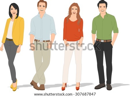 Group of young business people  - stock vector