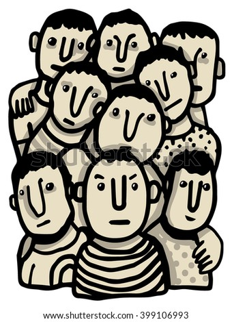 Group of young men - stock vector