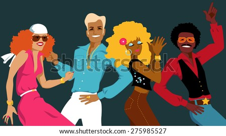 Group of young people dressed in 1970s fashion dancing disco, EPS 8 - stock vector