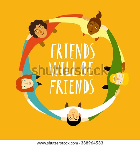 Group of young people in circle hugging and showing  collaboration and friendship. Cartoon illustration about  unity, friendship  & team spirit. - stock vector
