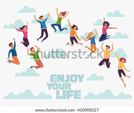 Group of young people jumping on white background with copy space. Stylish modern vector illustration with happy male and female teenagers Party, sport, dance and friendship team concept - stock vector