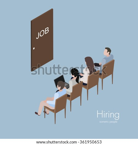 Group people waiting hire interview and recruitment job isometric vector illustration - stock vector
