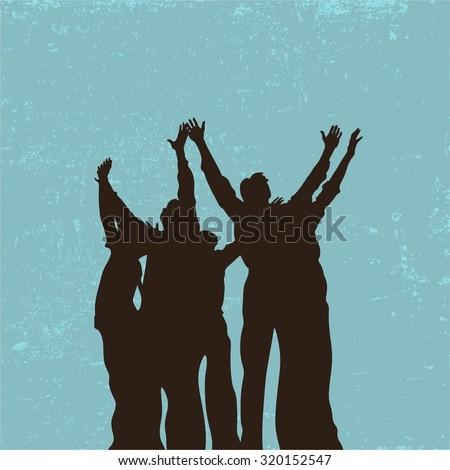 Group prayer, raised hands, praise, worship, silhouettes, people - stock vector