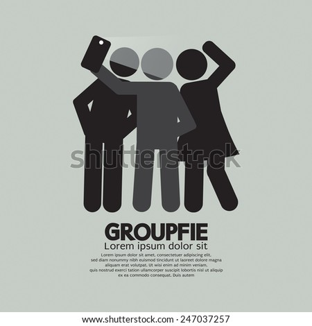 Groupfie Symbol, A Group Selfie By Phone Vector Illustration - stock vector