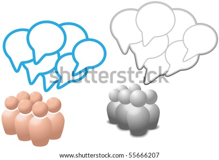 Groups of symbol people talk social media networking in overlapping speech bubble copy space. - stock vector