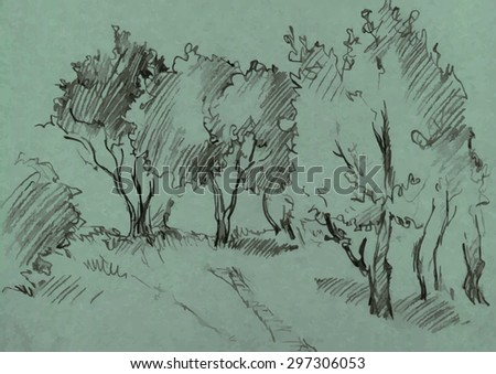 grove of deciduous trees, painted graphite pencil at the green background, hand drawn sketch of landscape, vector illustration - stock vector