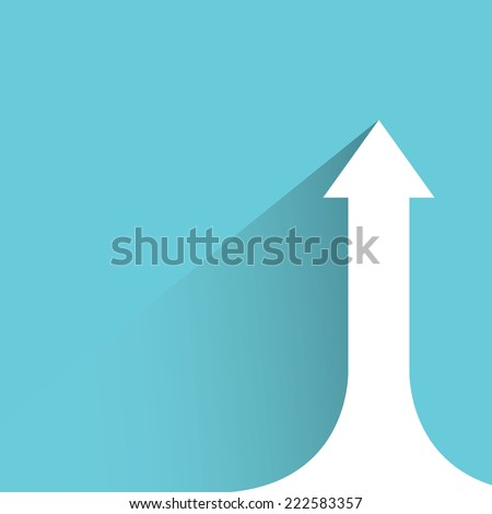 growing arrow chart in blue background, flat and shadow design - stock vector