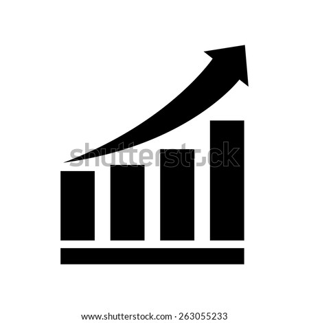 Growing bars graphic icon with rising arrow - stock vector