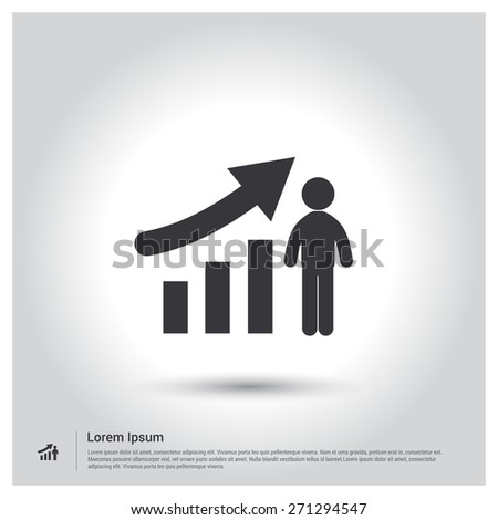 growing graph Icon, growth chart concept Icon pictogram icon on gray background. Vector illustration for web site, mobile application. Simple flat metro design style. Outline Icon. Flat design style - stock vector