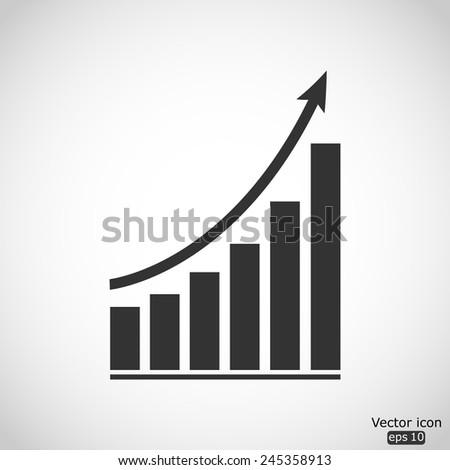 growing graph vector icon - stock vector