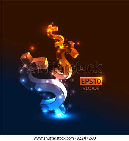 Growing money vector conceptual background - stock vector