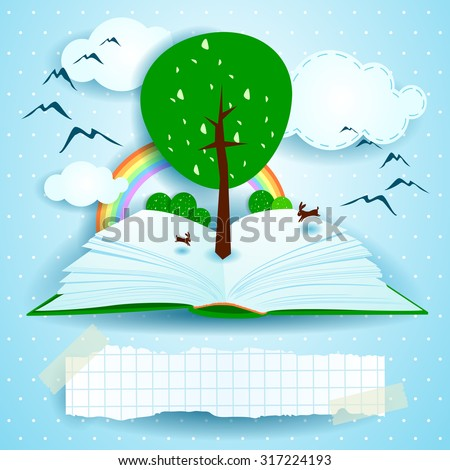 Growing, open book with landscape and tree. Vector illustration eps10 - stock vector