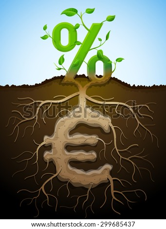 Growing percent sign as plant with leaves and euro sign as root. Financial concept with money symbol and percentage. Vector illustration for banking, financial industry, economy, accounting, etc - stock vector