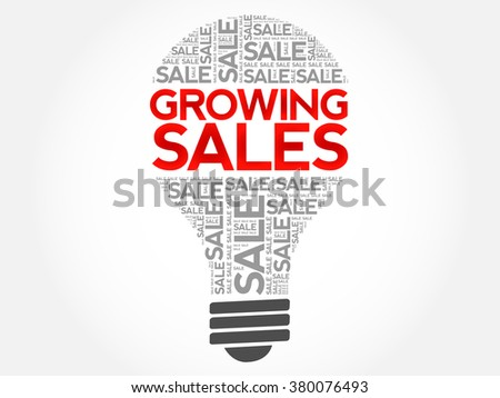 Growing Sales bulb word cloud, business concept background - stock vector