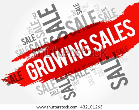 Growing Sales words cloud, business concept background - stock vector