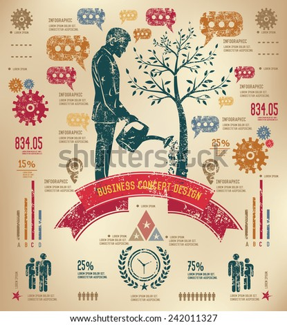 Growth business concept  info graphic design on old paper,grunge vector - stock vector
