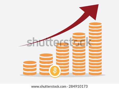 Growth chart and improvement of profit. Vector Illustration - stock vector
