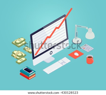 Growth chart on the monitor screen. 3D isometric vector concept illustration - stock vector