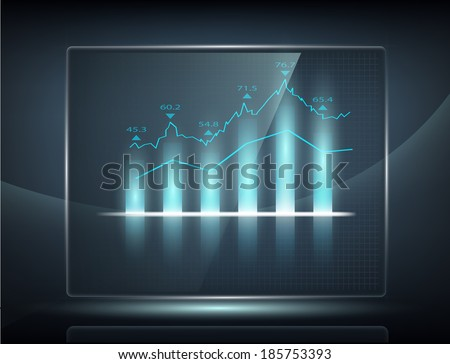 growth chart on transparent screen - stock vector
