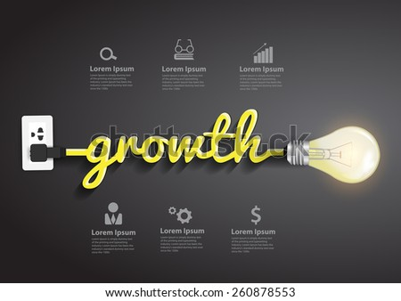 Growth concept, Creative light bulb idea abstract infographic layout, diagram, step up options, Vector illustration modern design template - stock vector