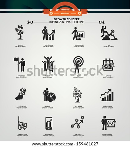 Growth concept icons,Black version,vector - stock vector