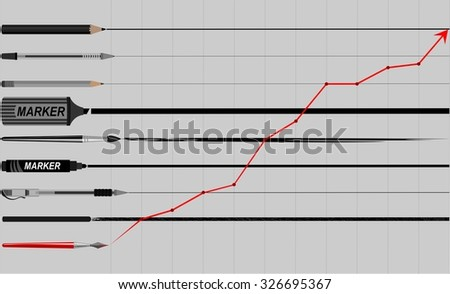 growth graph chart .up arrow . Growth improvement success. Writing stationery.line. - stock vector