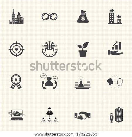 Growth of business, Business Finance Icon set - stock vector