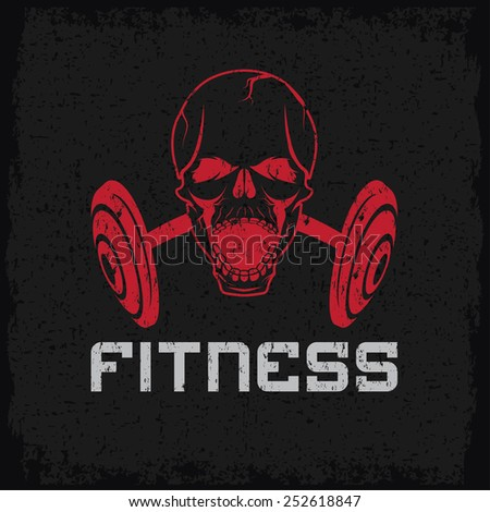 grunge aggressive skull and barbell fitness emblem - stock vector