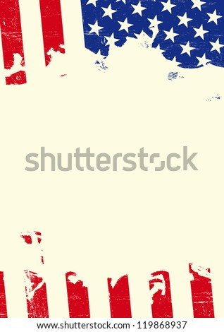 Grunge american flag . A poster with an american flag torn - stock vector