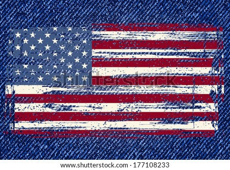 Grunge American flag on jeans background. Vector illustration - stock vector