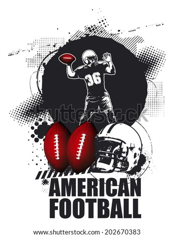 grunge american football shield with player - stock vector