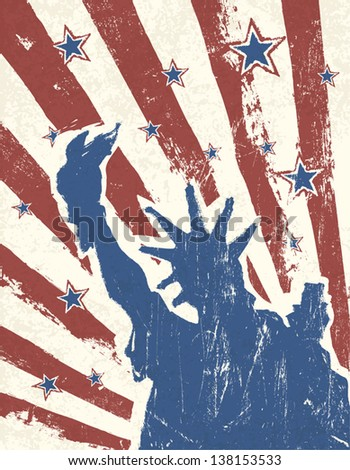 Grunge American Independence Day themed background. Vector. - stock vector