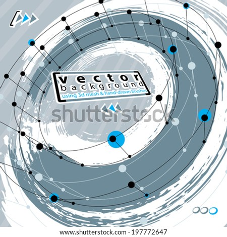 Grunge and technical background, fbstract special vector illustration made using real ink hand-drawn grunge brushes and abstract 3d mesh object modeling, clear eps 8 vector. - stock vector