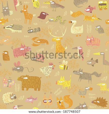 Grunge Animals seamless pattern in colors is hand drawn grunge illustration of forest animals. Illustration is in eps8 vector mode, background on separate layer.  - stock vector