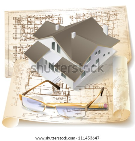Grunge architectural background with a 3D building model. Vector clip-art - stock vector