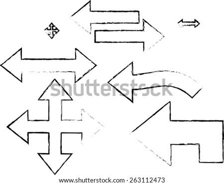 Grunge arrows - stock vector
