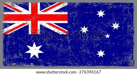 Grunge Australia flag.Australian flag with grunge texture.Vector illustration. - stock vector