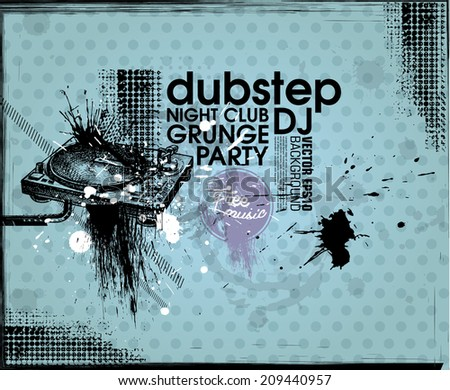 Grunge background. Grunge banner with an inky dribble strip with copy space. Abstract background for party - stock vector