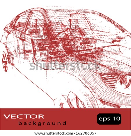 Grunge background of car silhouette - stock vector