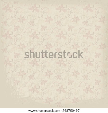 Grunge background of old paper texture with floral ornament. Vector illustration - stock vector