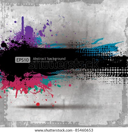 Grunge background with a colorful rainbow ink splat effect - stock vector
