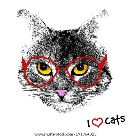 Grunge background with a stylized cat face with red glasses, vector illustration - stock vector