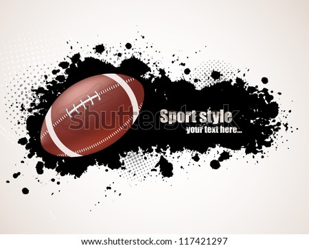 Grunge background with ball - stock vector