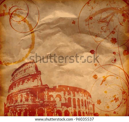 Grunge background with Colosseum and florals - stock vector