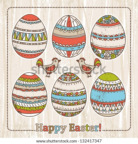 grunge background with easter eggs, vector - stock vector