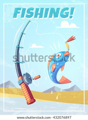 Grunge background with fishing rod and fish. Vector illustration. - stock vector