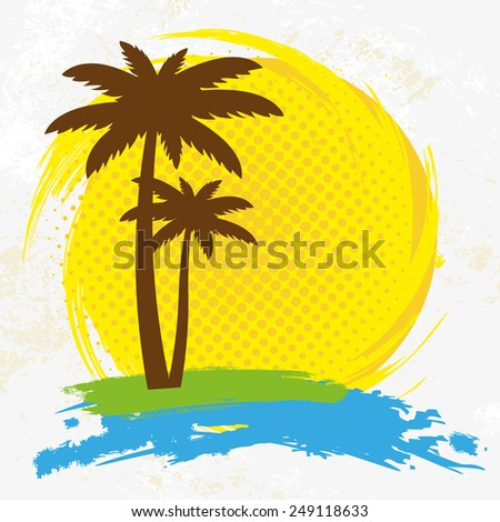 Grunge background with palm trees, vector illustration - stock vector
