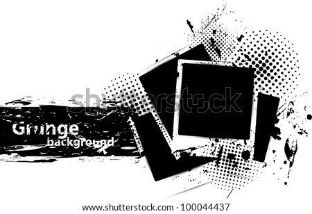 Grunge background with photo frames and ink - stock vector